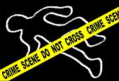stock photo of corpses  - A typical CRIME SCENE DO NOT CROSS streamer set over chalk body outline on black - JPG