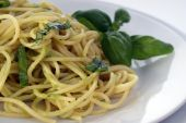 Spaghetti With Organic Home Made Pesto On A Plate poster