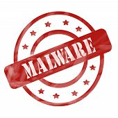 image of malware  - A red ink weathered roughed up circles and stars stamp design with the word MALWARE on it making a great concept - JPG