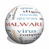 picture of malware  - Malware 3D sphere Word Cloud Concept with great terms such as trojan virus infection and more - JPG