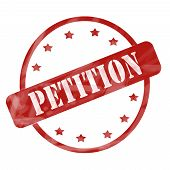 picture of petition  - A red ink weathered roughed up circle and stars stamp design with the word PETITION on it making a great concept - JPG