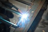 foto of welding  - light form  spark welding - JPG