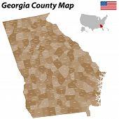 Постер, плакат: Georgia County Map