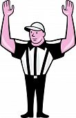 foto of referee  - Illustration of an american football official referee with hand pointing up signal for a touchdown facing front set on isolated background done in cartoon style - JPG