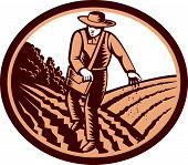 picture of oval  - Illustration of organic farmer with satchel bag sowng seeds in farm field set inside oval shape done in retro woodcut style - JPG