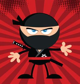 foto of chibi  - Angry Ninja Warrior Cartoon Character Flat Design Over Red Background - JPG
