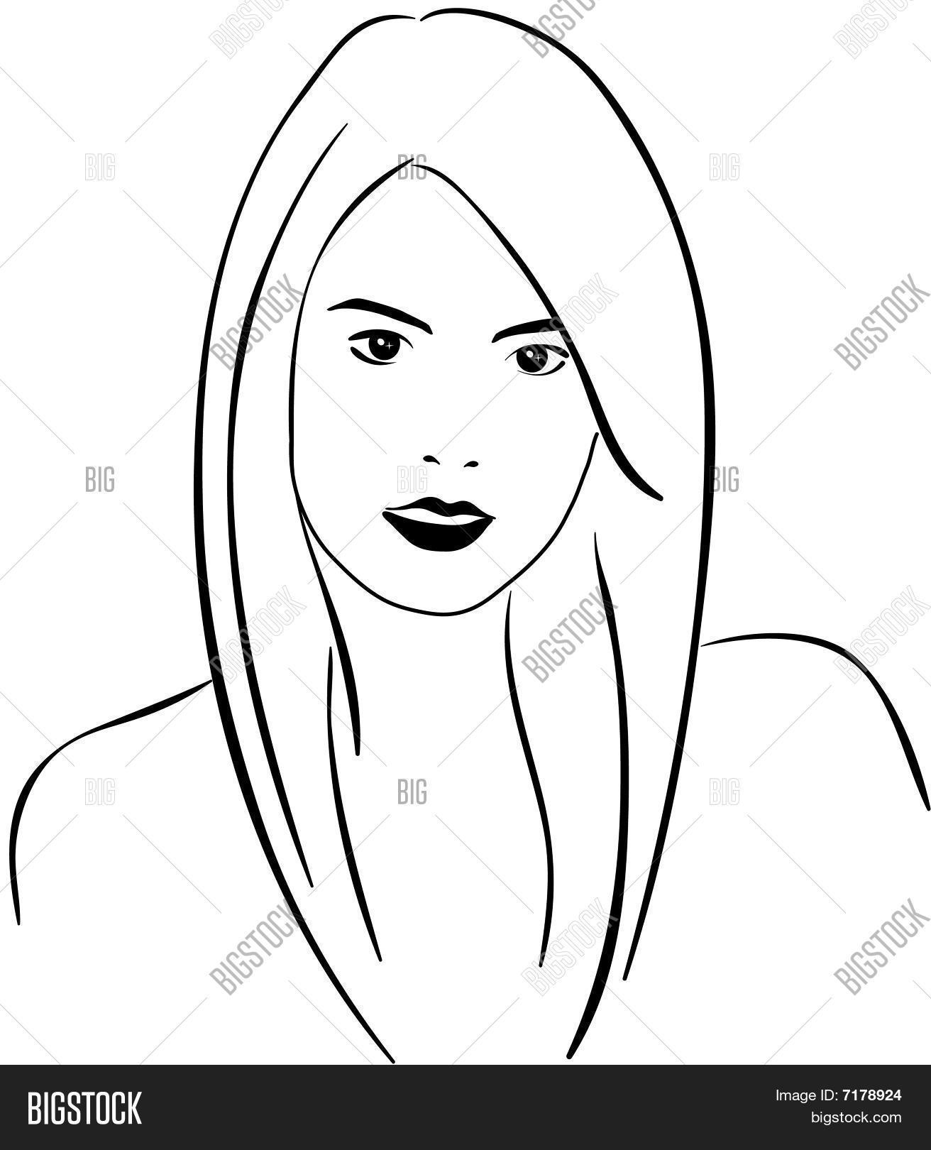 Woman S Face Line Drawing : Woman face line art vector photo bigstock