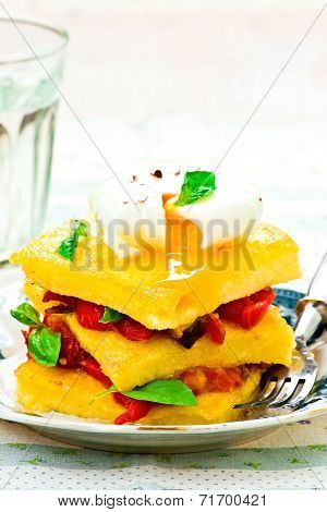 Polenta With Vegetables And Poshed Egg