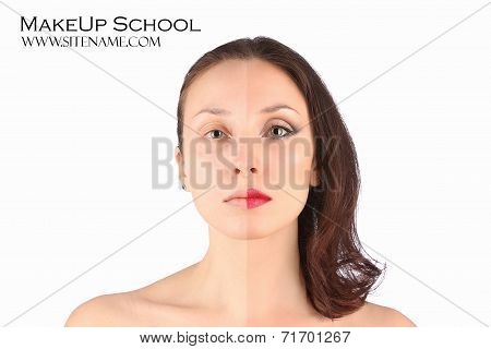 Beautiful Woman Before And After Makeup With A Make-up Brush Over White