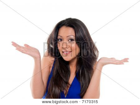 Happy And Gesturing Woman