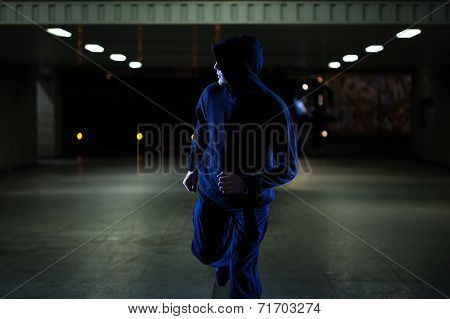 Mugger Running In The Underpass