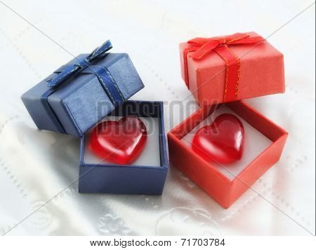 Heart in ared and blue gift box