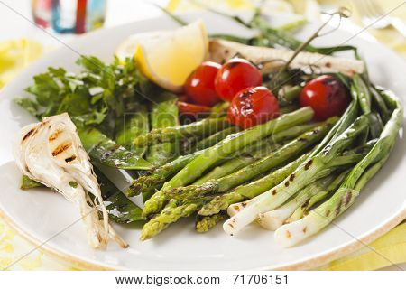 grilled vegetables - asparagus, onions, peas, tomatoes