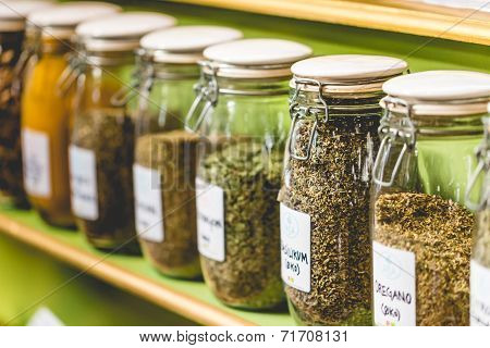 Glass Jars With Spices