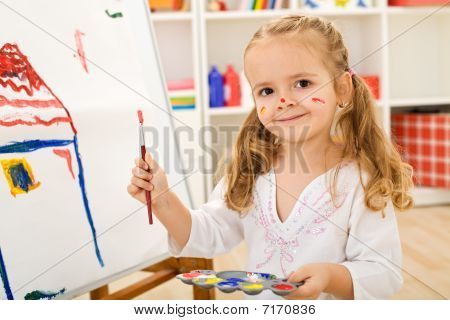 Happy Little Artist - Girl Painting A House