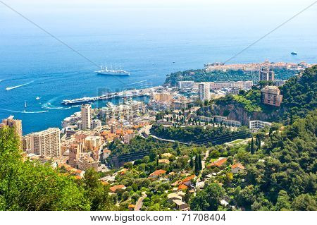 Panoramic View Of Monaco With Casino, Palace And Harbor