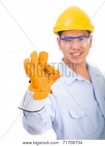 Engineer In The Construction Helmet With Ok Hand