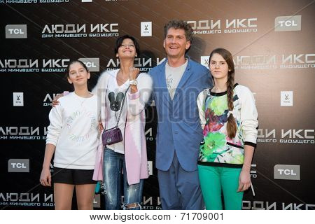 MOSCOW, RUSSIA, May, 13: Ilya Bachurin, Ravshana Kurkova with family. Premiere of the movie