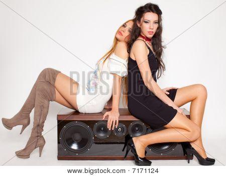 Two Women On Loudspeaker