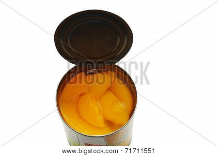 A Top View Of Canned Peach Slices