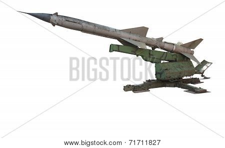 Old Russian Antiaircraft Defense Rocket Launcher Missiles Isolated Over White