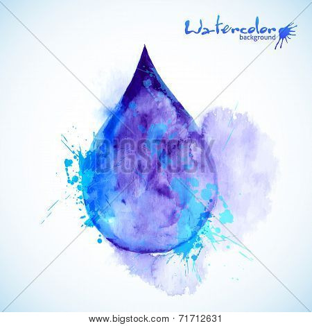 Watercolor painted blue vector drop