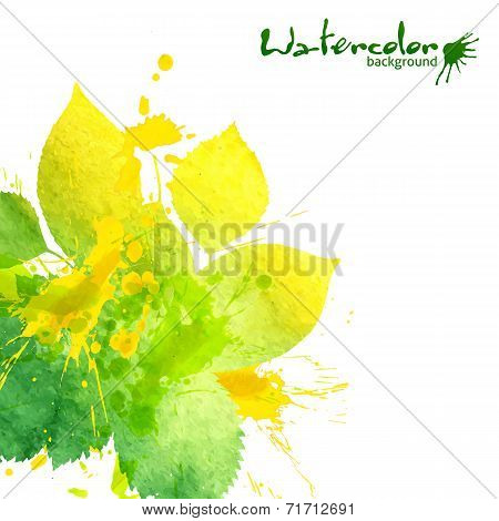 Watercolor texture and splashes green leaves background