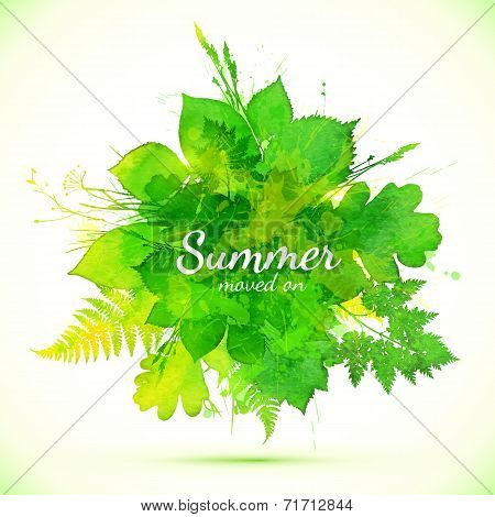 Summer green watercolor painted foliage banner