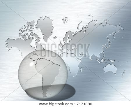Glass Sphere Focus On South America