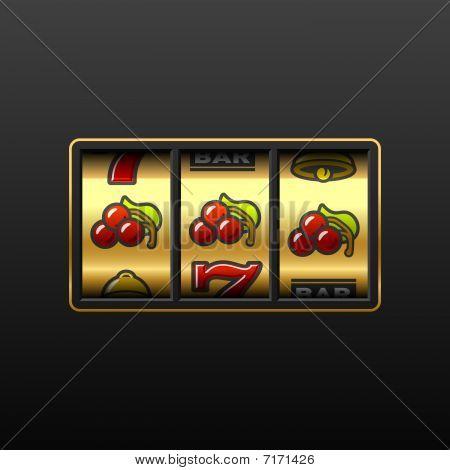 Cherries. Winning in slot machine. Vector.