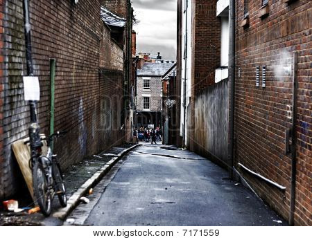 Looking Down A Narrow Alleyway