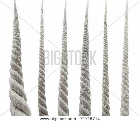 Set Of Bottom Views Of Textile Rope Isolated