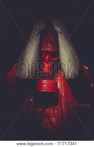 accident nuclear concept, man with red gas mask