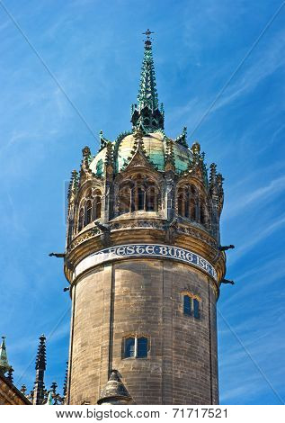 Tower Of Palace Cathedral In Wittenberg