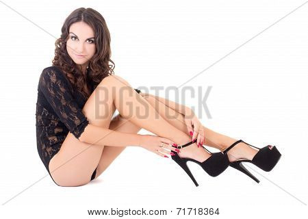 Sexy Woman In Lace Lingerie And Shoes On Heels Isolated On White