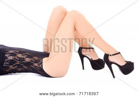 Sexy Female Long Legs In Shoes On Heels Isolated On White