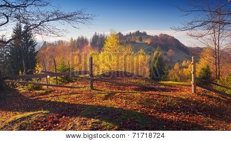 Road in the mountain village. Beautiful autumn. Wooden fence with a gate. Carpathian mountains, Ukraine, Europe