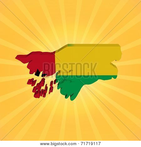 Guinea Bissau map flag on sunburst illustration