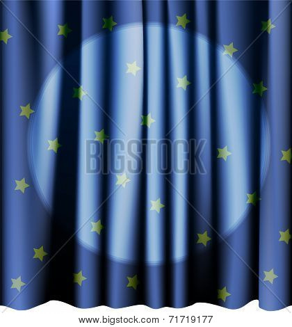 Magic blue curtain for the stage. Editable vector meshes.