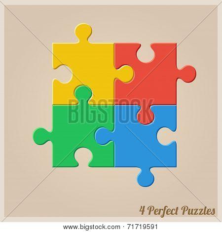 Four Colourful Puzzle Pieces.
