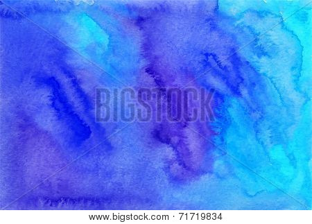 Blue watercolor painted vector background