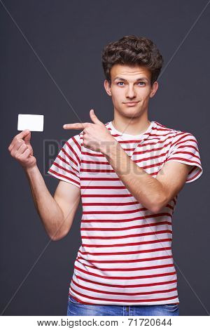 Man showing empty blank paper card sign