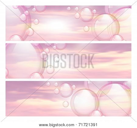 Sky and bubbles banners