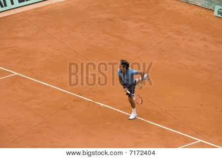Paris - June 7: Roger Federer Of Switzerland In Action At French Open, Roland Garros, Final Game On