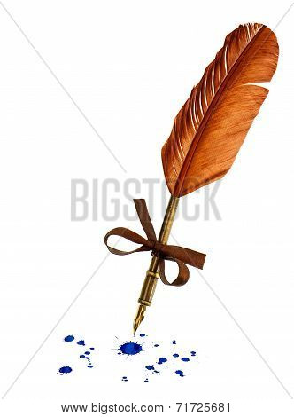Vintage Feather Pen With Blue Ink Stains Isolated On White