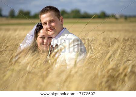 Wedding Couple Among Rye Field Simbolizing Fertility