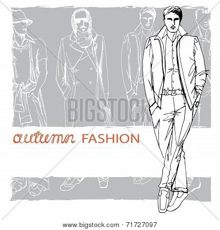Stylish autumnal dude on grunge background. Fashion illustration