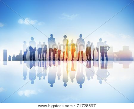 Silhouettes of Business People and Urban Scene
