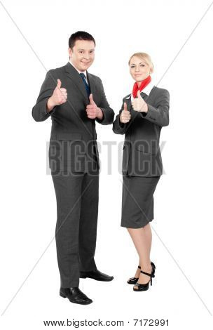 two happy flight attendants
