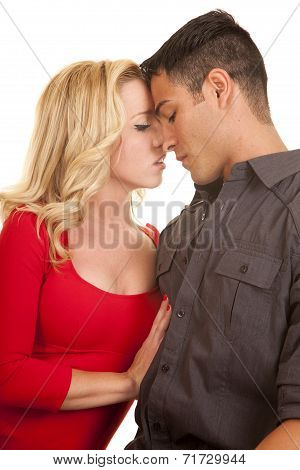 Couple Sit Hand On Chest Ready To Kiss